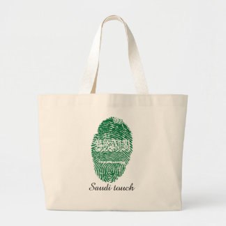 Saudi touch fingerprint flag large tote bag