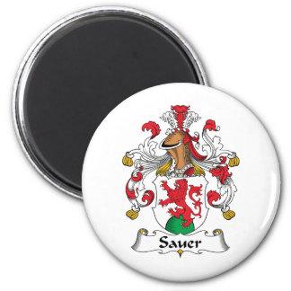 Sauer Family Crest 2 Inch Round Magnet