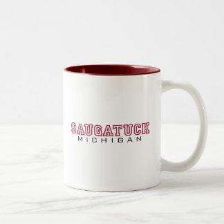 Saugatuck MI - Letters Two-Tone Coffee Mug