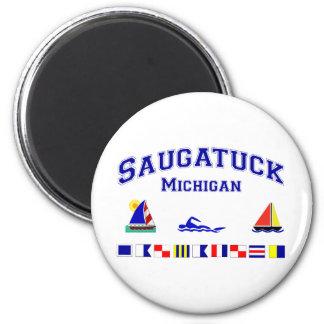 Saugatuck MI Signal FLags 2 Inch Round Magnet