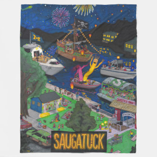 Saugatuck (Night) Fleece Blanket