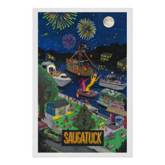 Saugatuck (Night) Large Poster