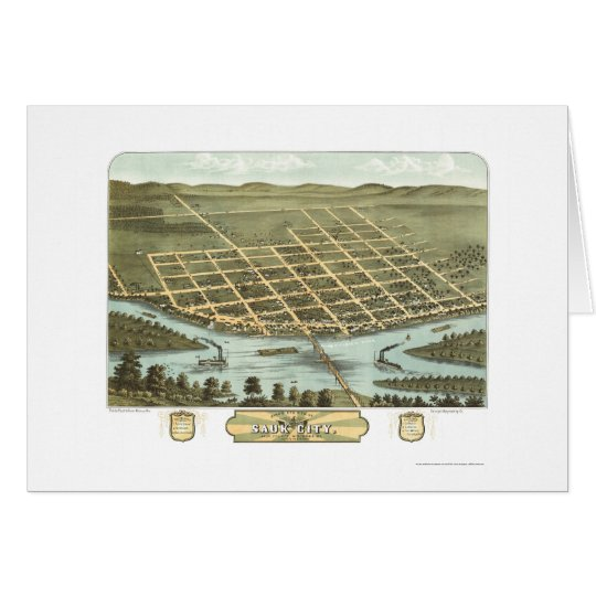 Sauk City, WI Panoramic Map - 1870 Card