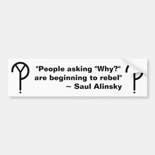 ¿Saul Alinsky porqué? Pegatina para el parachoques Etiqueta De Parachoque
