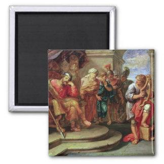 Saul que escucha David que toca la arpa Imán Cuadrado
