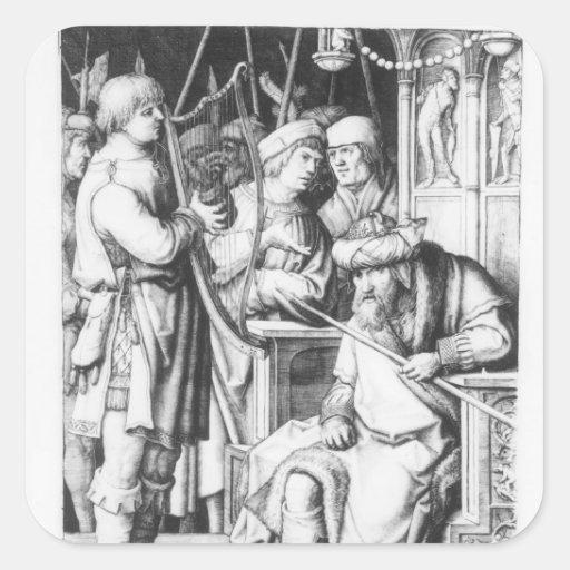 Saul que escucha el juego de David la arpa Calcomanía Cuadradas Personalizadas