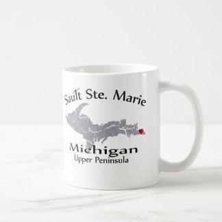 Sault Ste Marie Michigan Heart Map Design Mug