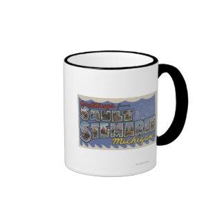 Sault Ste. Marie, Michigan - Large Letter Scenes Ringer Mug