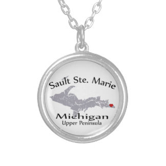 Sault Ste Marie Michigan Map Design Necklace