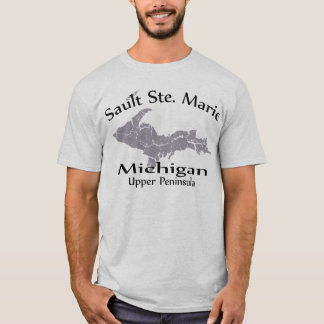 Sault Ste Marie Michigan Map Design T-shirt