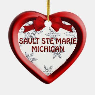 Sault Ste Marie Michigan Snowflakes Heart Ornament