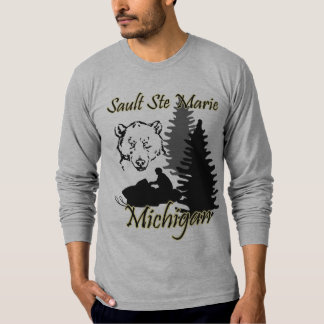Sault Ste Marie Michigan Snowmobile Bear Grey T-Shirt