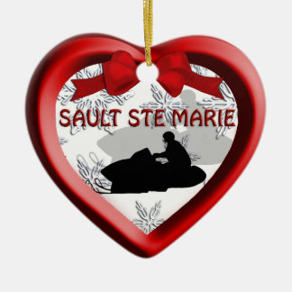Sault Ste Marie Michigan Snowmobile Heart Ornament