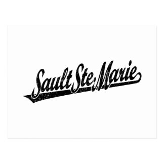 Sault Ste. Marie script logo in black distressed Postcard