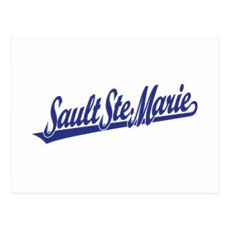 Sault Ste. Marie script logo in blue Postcard