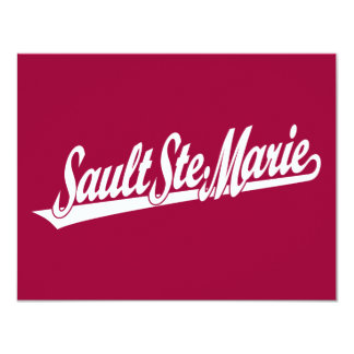 Sault Ste. Marie script logo in white 4.25x5.5 Paper Invitation Card