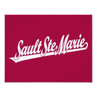 Sault Ste. Marie script logo in white distressed 4.25x5.5 Paper Invitation Card