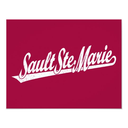 Sault Ste. Marie script logo in white distressed Card