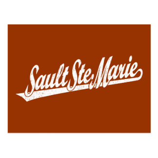 Sault Ste. Marie script logo in white distressed Postcard