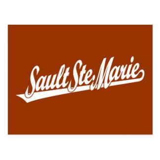 Sault Ste. Marie script logo in white Postcard