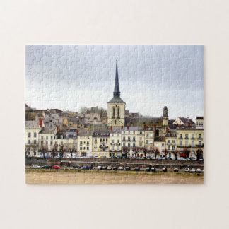 Saumur River Bank Scene Photo Puzzle with Gift Box