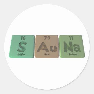 Sauna-S-Au-Na-Sulfur-Gold-Sodium.png Classic Round Sticker