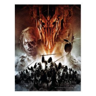 Sauron, Orcs, Witchking, y Wraiths del anillo Tarjeta Postal