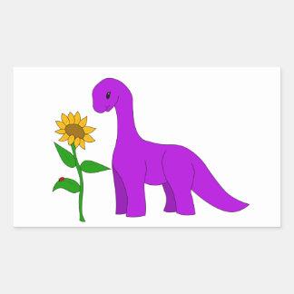 Sauropod and Sunflower Rectangular Sticker