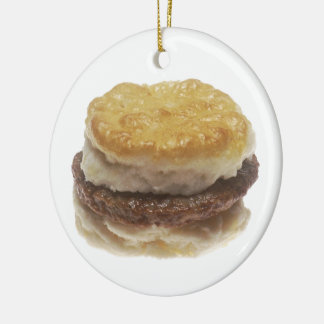 Sausage Biscuit Double-Sided Ceramic Round Christmas Ornament