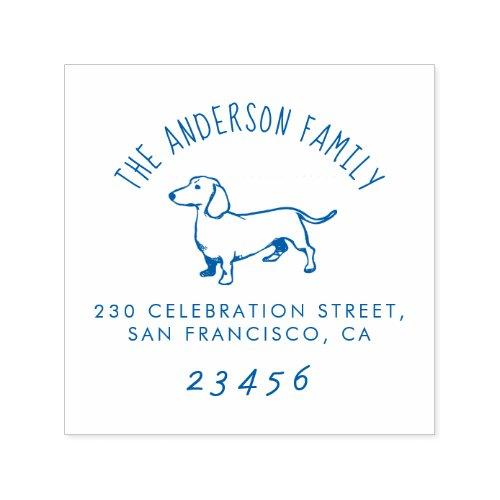 Sausage Dog  Custom Family Name  Return Address Self_inking Stamp