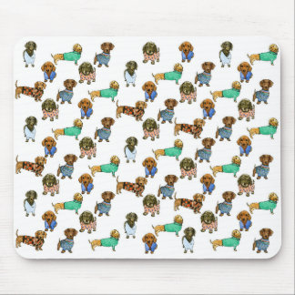 Sausage dogs / dachshunds with jumpers mouse pad