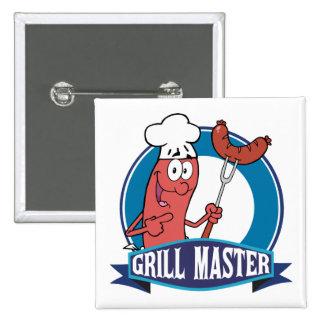 Sausage Grill Master Pinback Button