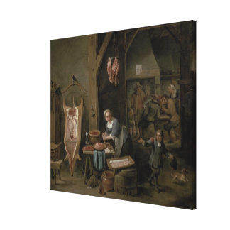 Sausage-making, 1651 canvas print