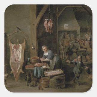 Sausage-making, 1651 square sticker