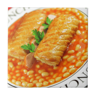 Sausage rolls and baked beans ceramic tile