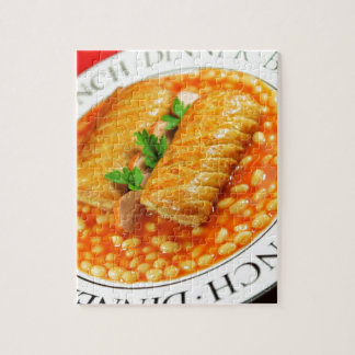 Sausage rolls and baked beans jigsaw puzzle