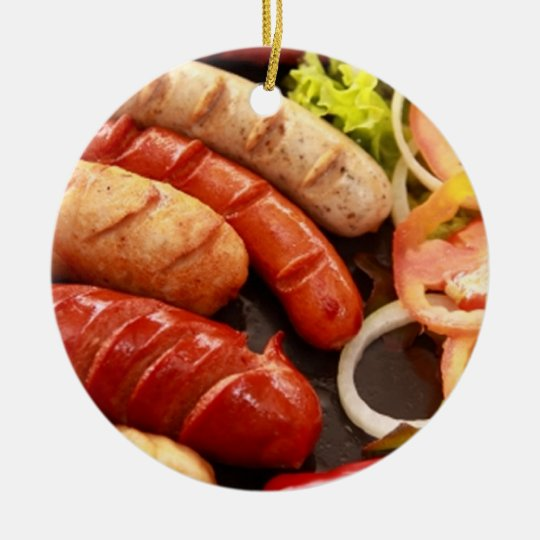 Sausages Ceramic Ornament