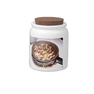 Sauted onions in a frypan candy jar