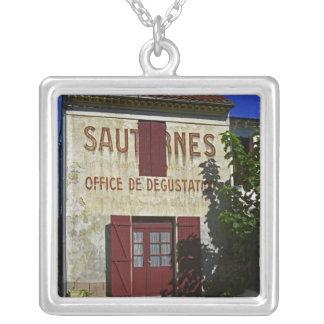 Sauternes Office de Degustation (Wine Tasting Square Pendant Necklace