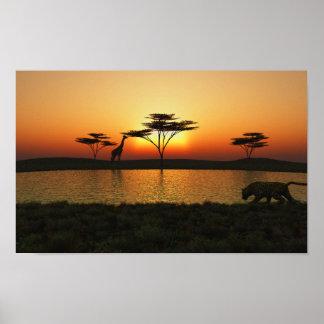 Savanna Sunset Poster