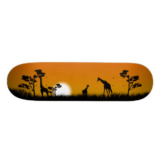 Savanna Sunset with tallgrass, trees and giraffes Skateboard
