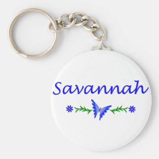 Savannah (Blue Butterfly) Basic Round Button Keychain