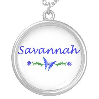 Savannah (Blue Butterfly) Round Pendant Necklace