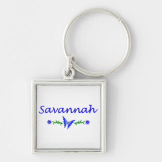Savannah (Blue Butterfly) Silver-Colored Square Keychain