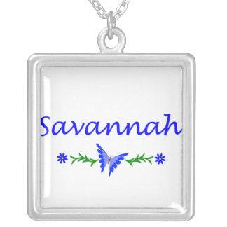 Savannah (Blue Butterfly) Square Pendant Necklace