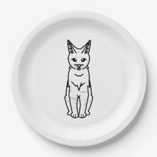 Savannah Cat Cartoon Paper Plate