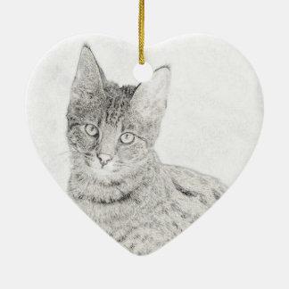 Savannah Cat Drawing Ceramic Ornament