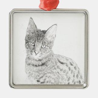 Savannah Cat Drawing Metal Ornament