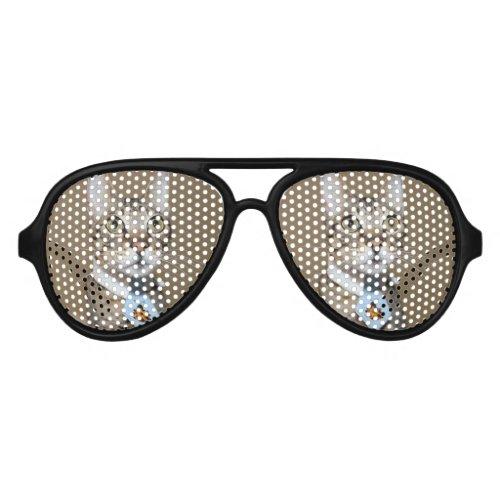 Savannah Cat In A Tie Aviator Sunglasses
