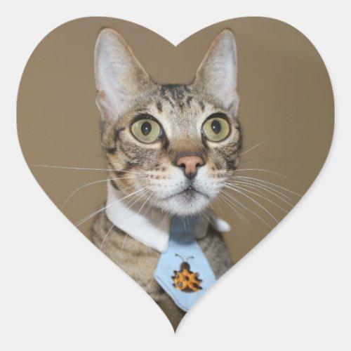 Savannah Cat In A Tie Heart Sticker